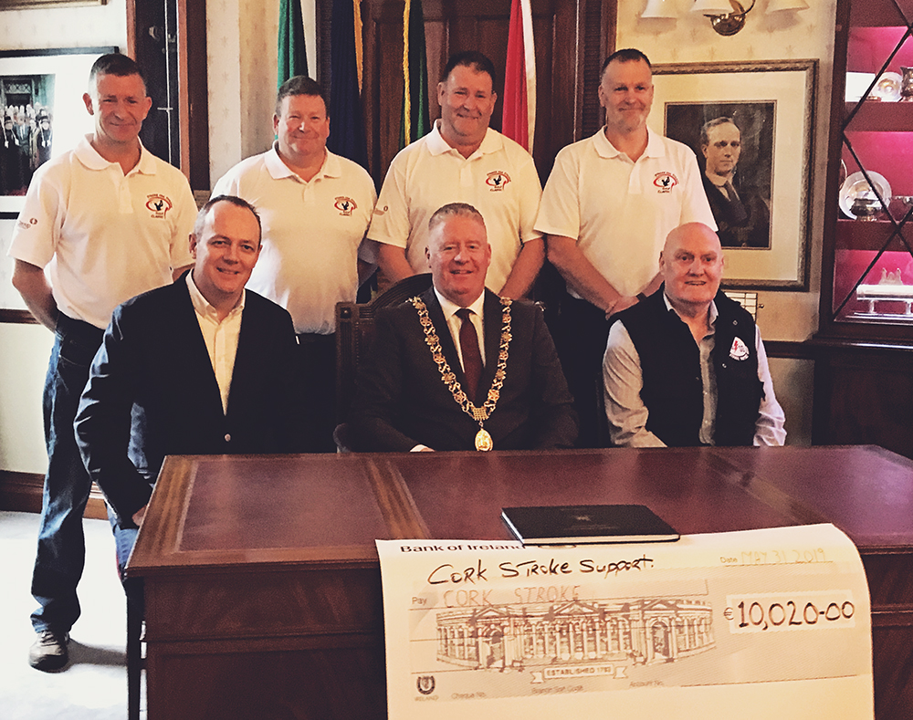 Carbon Group presents a fundraising cheque for over €10,000 to Cork Stroke Support Group.