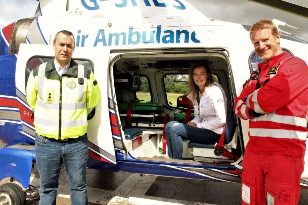 Photo (L-R): Paul Traynor (Lead Paramedic, ICRR), Clodagh Lynch, Donagh Verling (Pilot, ICRR),